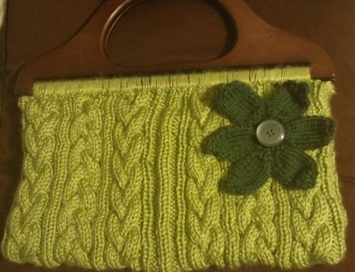 Custom Made Pistachio Green Cable Braided Knit Purse With Flower Motif