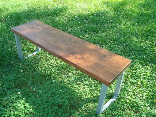Custom Made Wide Plank Hardwood Industrial Dining Set