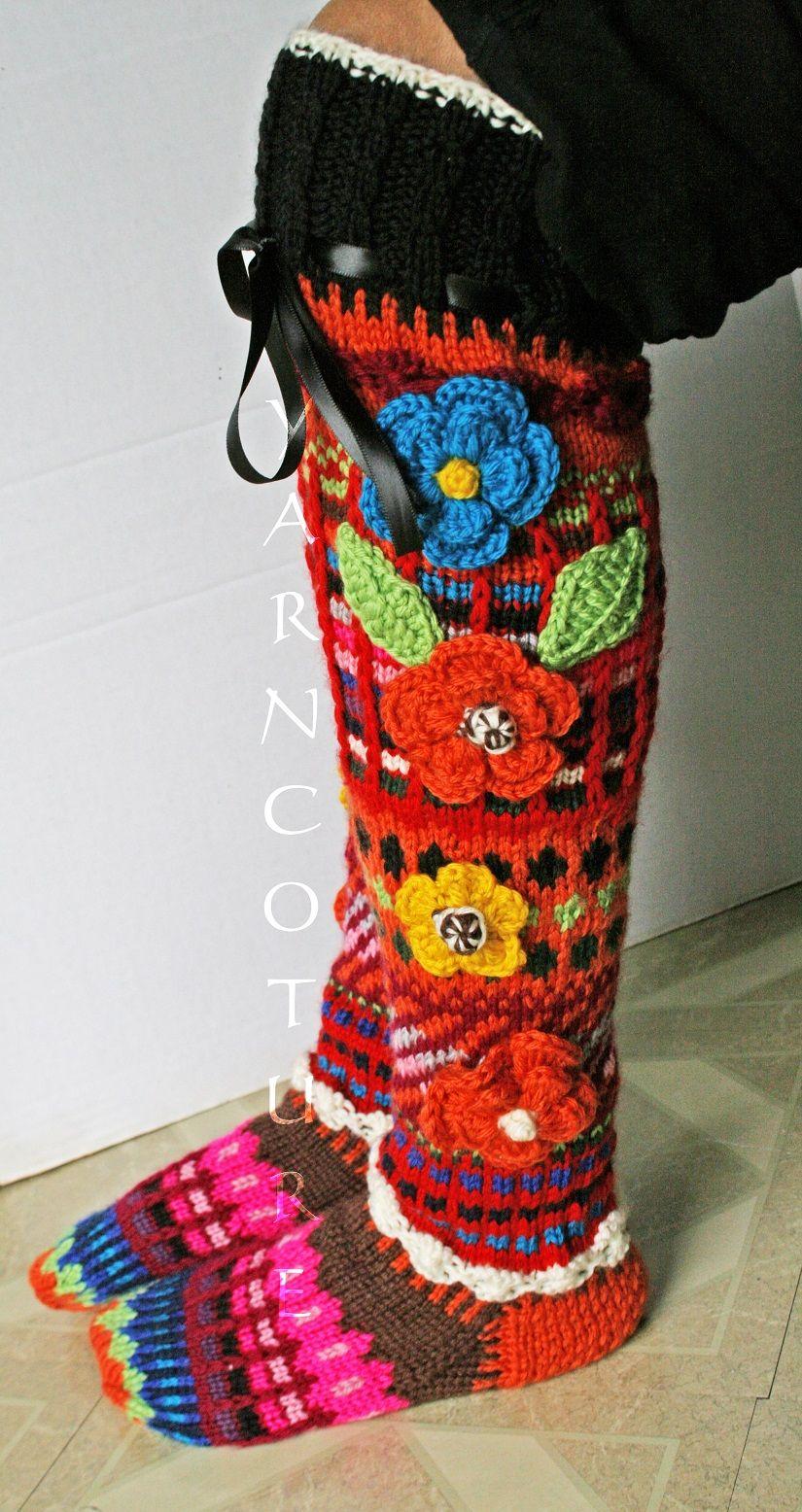 Buy Hand Made Hand Knit Fair Isle Knee High Socks W/3d Flowers, made ...
