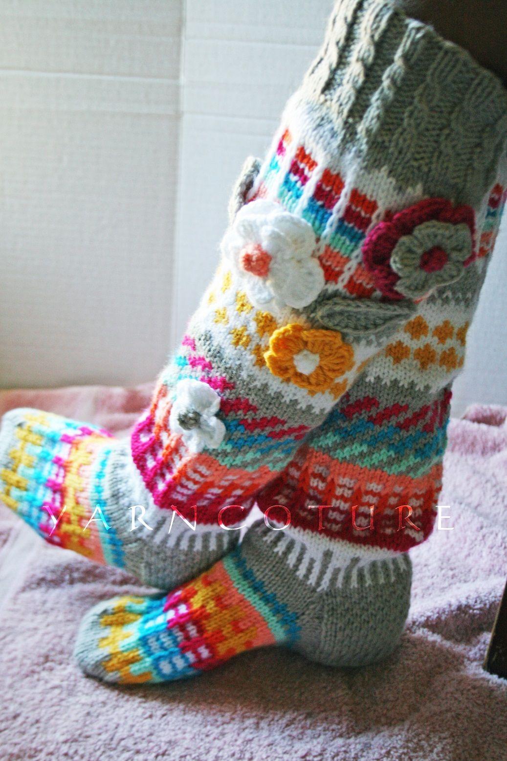 Buy a Custom Made Hand Knit Fair Isle Knee Highs With 3d Flowers ...