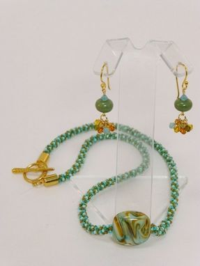 Custom Made Set - Light Aqua, Aqua, Olive Green And Gold Kumihimo Necklace And Earrings