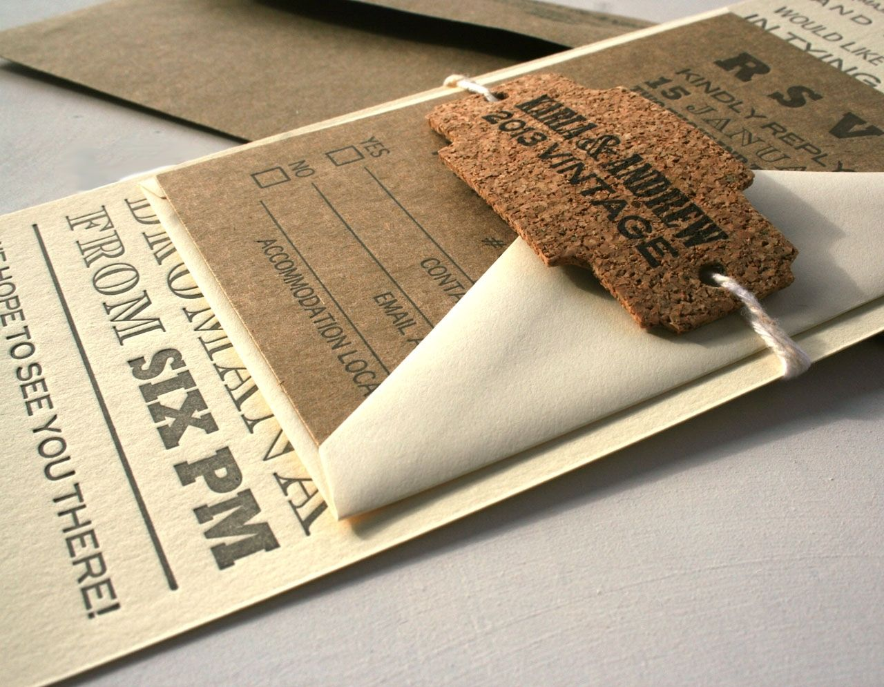 Custom Vintage Fonts Long Letterpress Wedding Invitation With Rustic ...