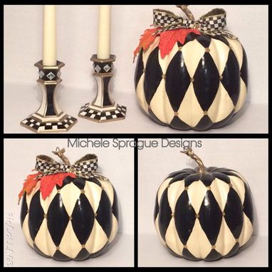 Custom Made Harlequin Painted Pumpkin // Gold Black Painted Pumpkin