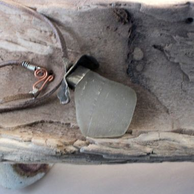Custom Made Beach Glass Pendant On Leather Cord