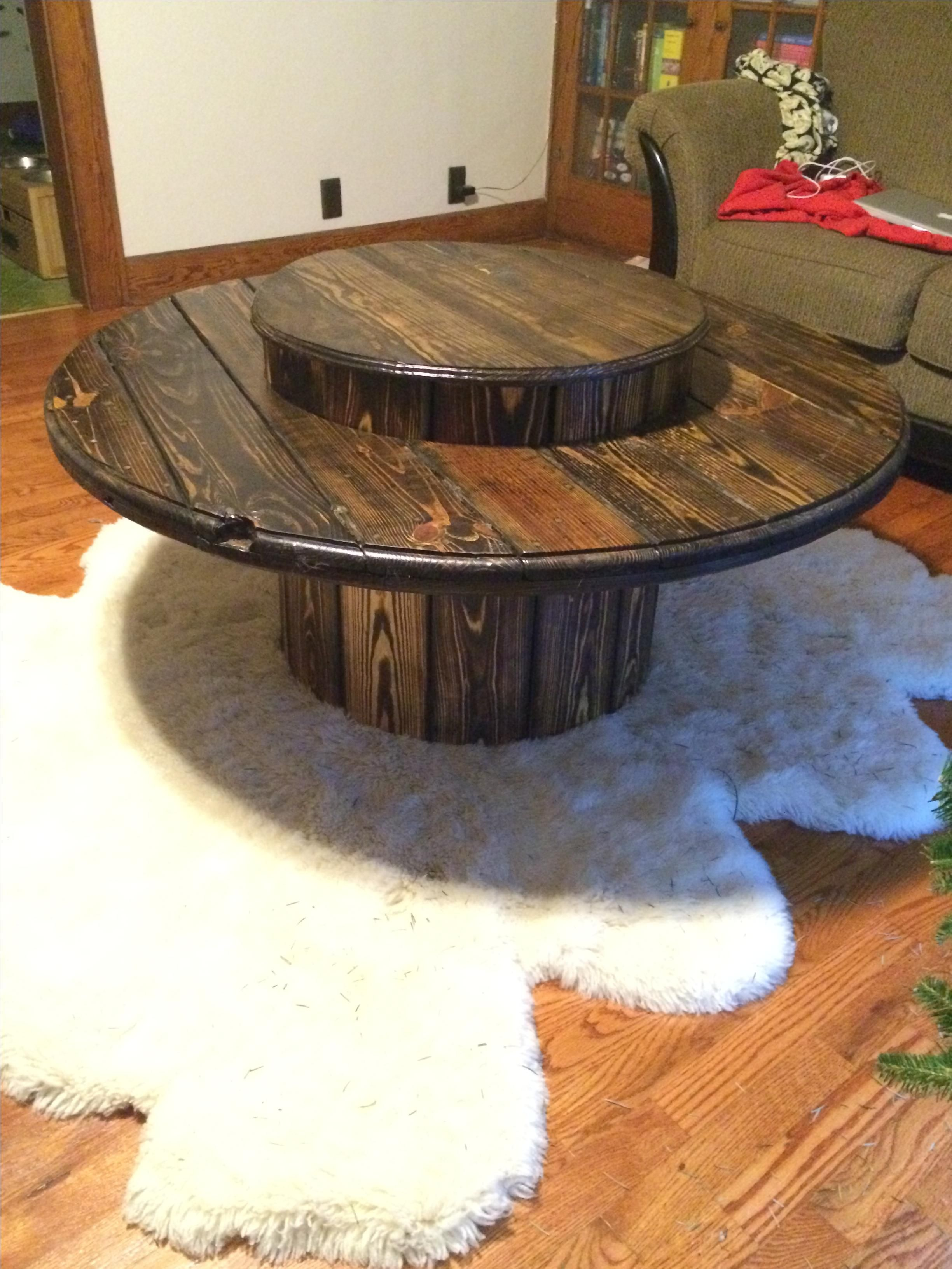 Hand Made Cable Spool Table By Caveman Carpentry