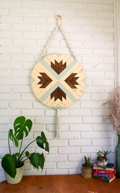 Custom Made Pipkin - Round Macrame Wood Wall Art Hanging