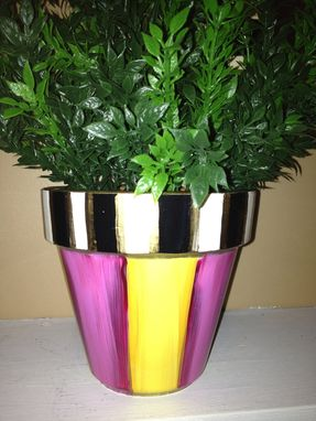 Handmade Hand Painted Terra Cotta Herb Pots By Michele