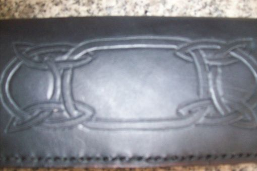 Custom Made Custom Leather Checkbook Cover With Long Celtic Design In Black