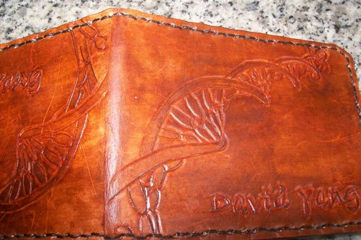 Custom Made Custom Leather Deluxe Wallet With Dna Strand Design And Personalization