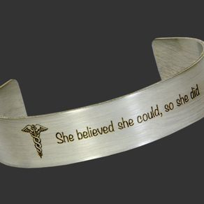 Custom Stamped Wide Steel Cuff Bracelet Personalized With Your Choice Of Text