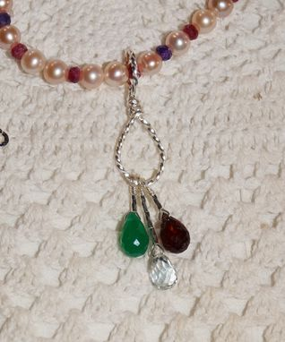 Custom Made Pearl And Gemstone Necklace With Gemstone Drop Pendant In Sterling Silver