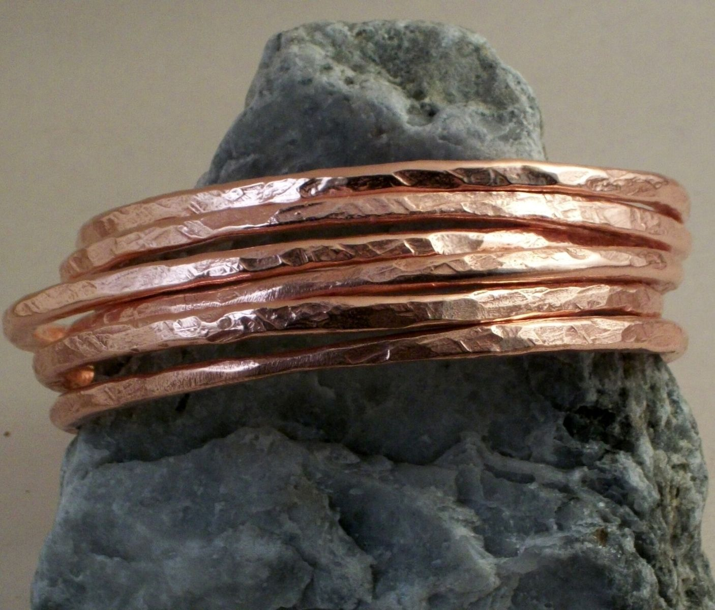Custom Made 7 Gauge Copper Bangle Bracelets In Set Of 9 Pine