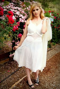 Custom Made Vintage 50s Slip Gown And Robe Peignoir Set Of Double Chiffon Silk Satin And Chantilly Lace Pin Up