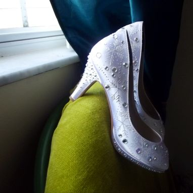 Custom Made Wedding Shoes Snowflakes And Swirls.