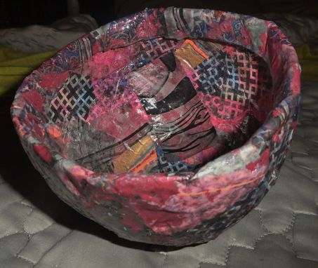 Custom Made Paper Mache Bowl W/Red Acrylic Paint