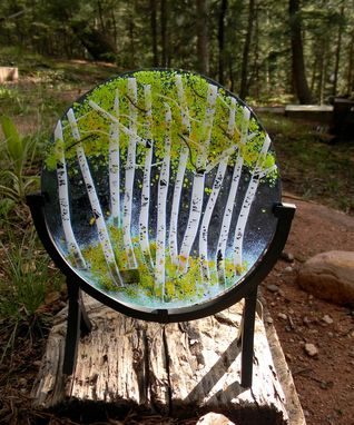 Custom Made Aspen Grove Round Fused Glass Panel (Autumn Or Spring)