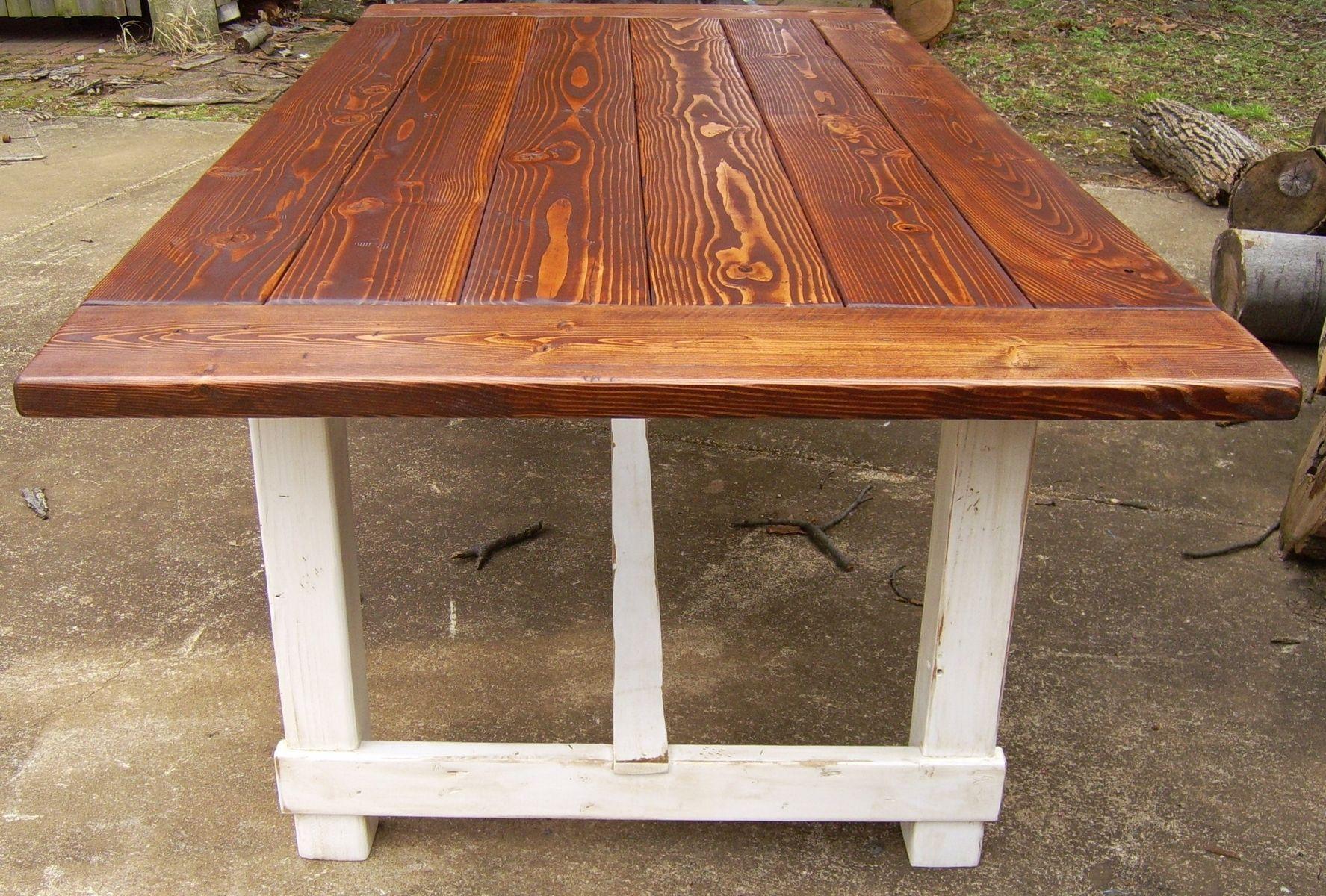 Custom Reclaimed Wood Trestle Style Farmhouse Table With Antiqued - Farmhouse table with white base