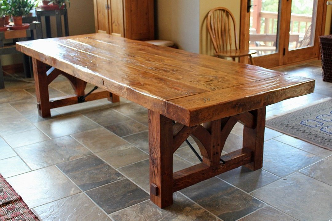 Custom farmhouse dining table by sentinel tree woodworks for Dining room table with bench