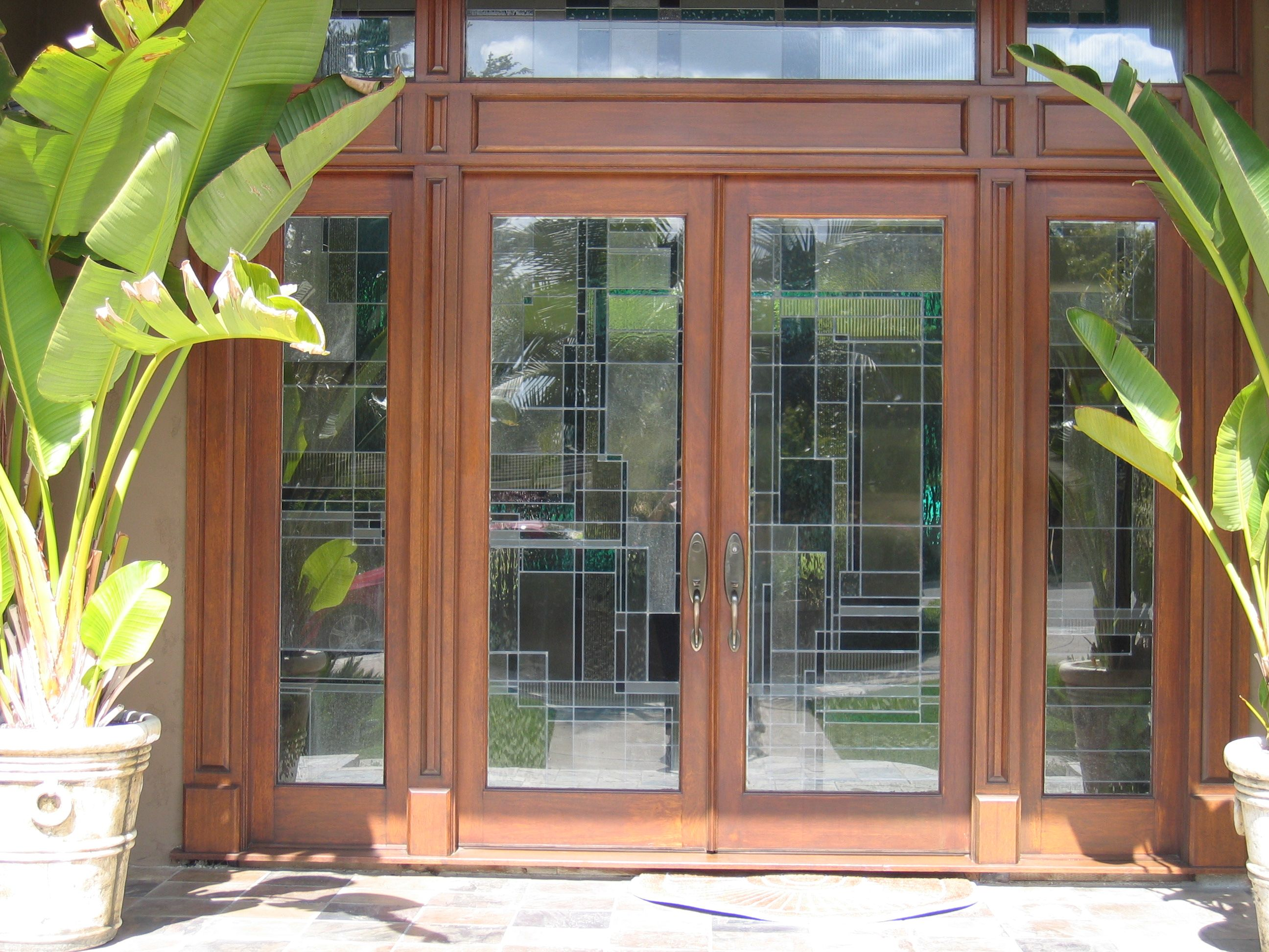 Hand Crafted 9 X 8 Cherry Entry Doors With Sidelights And