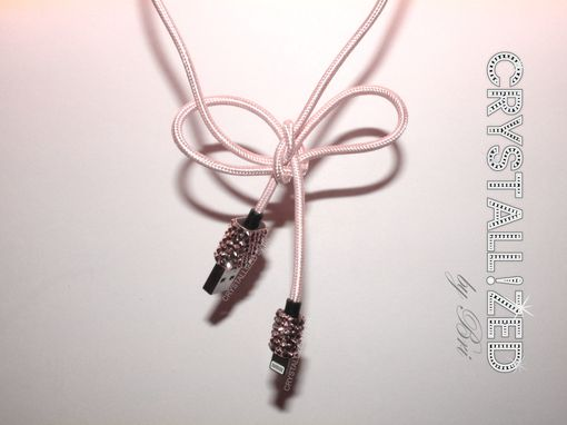 Custom Made Crystallized Fabric Wrapped Usb Charging Cord For Apple Iphone Made With Swarovski Crystals