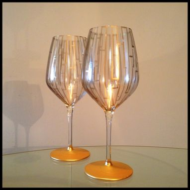 Custom Made Gold Abstract Design. Red Wine Glasses.