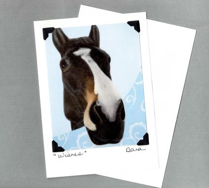 Custom Made Mustang On Blue Scroll Background - Fun Horse Art Postcard And Greeting Card