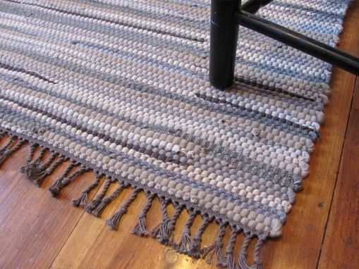 Custom Made Handwoven Recycled Wool Rag Rug
