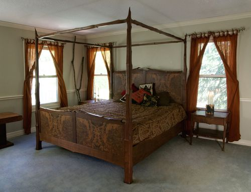 Custom Made Figured Walnut Four Poster Bed