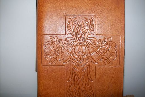 Custom Made Custom Leather Journal With Cross Design