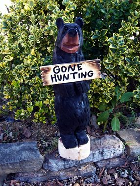 Custom Made Chainsaw Carved Bears Holding Welcome Signs
