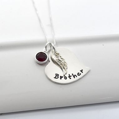 Custom Made Hand Stamped Personalized Memory Necklace | Heart And Angel Wing Jewelry