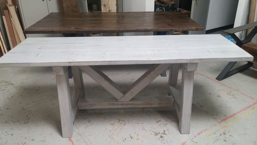 Custom Distressed Grey Trestle Farmhouse Table Reclaimed