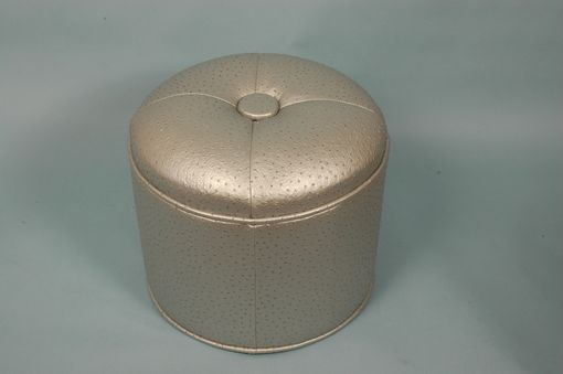Custom Made Silver Ostrich Round Designer Center Tufted Ottoman