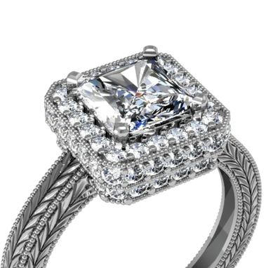Custom Made 1.5ct Princess Or Radiant Cut Diamond Vintage Style Engraving Engagement Ring