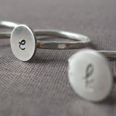 Custom Made Sterling Cursive Initial Ring