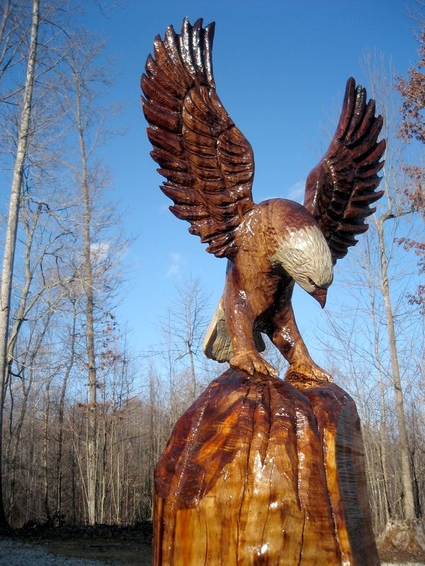 Hand Made Perched Bald Eagle Wood Sculpture By Sleepy