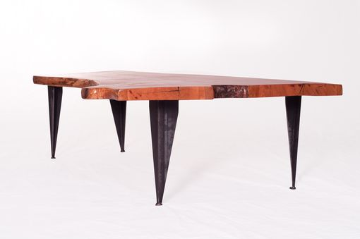 Custom Made Live Edge Cherry Crotch Cut Coffee Table On Tapered Iron Legs