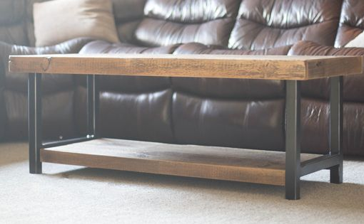 Custom Made Barn Wood Coffee Table Industrial Rustic Reclaimed 1800s Barn Wood And Steel Legs