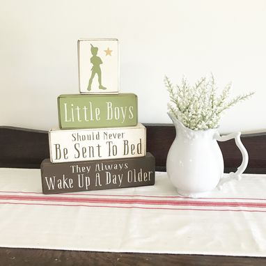 Custom Made Peter Pan Nursery Wood Sign, Stacking Blocks