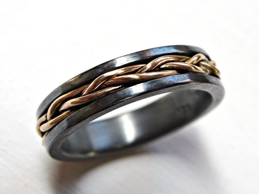 Custom Made Mens Viking Wedding Band, Celtic Promise Ring Braided 14k Gold And Black Sterling Silver