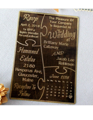 Custom Made Rustic Brass Invitations Engraved Metal