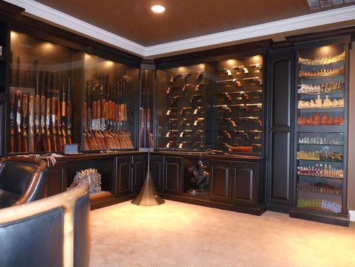 Custom Made Built-In Gun Display Cabinets