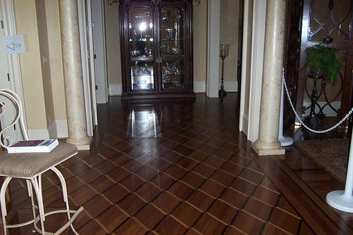 Custom Made Custom Hardwood Floors .  Brazilian Cherry ,  Wenge ,  Ash.