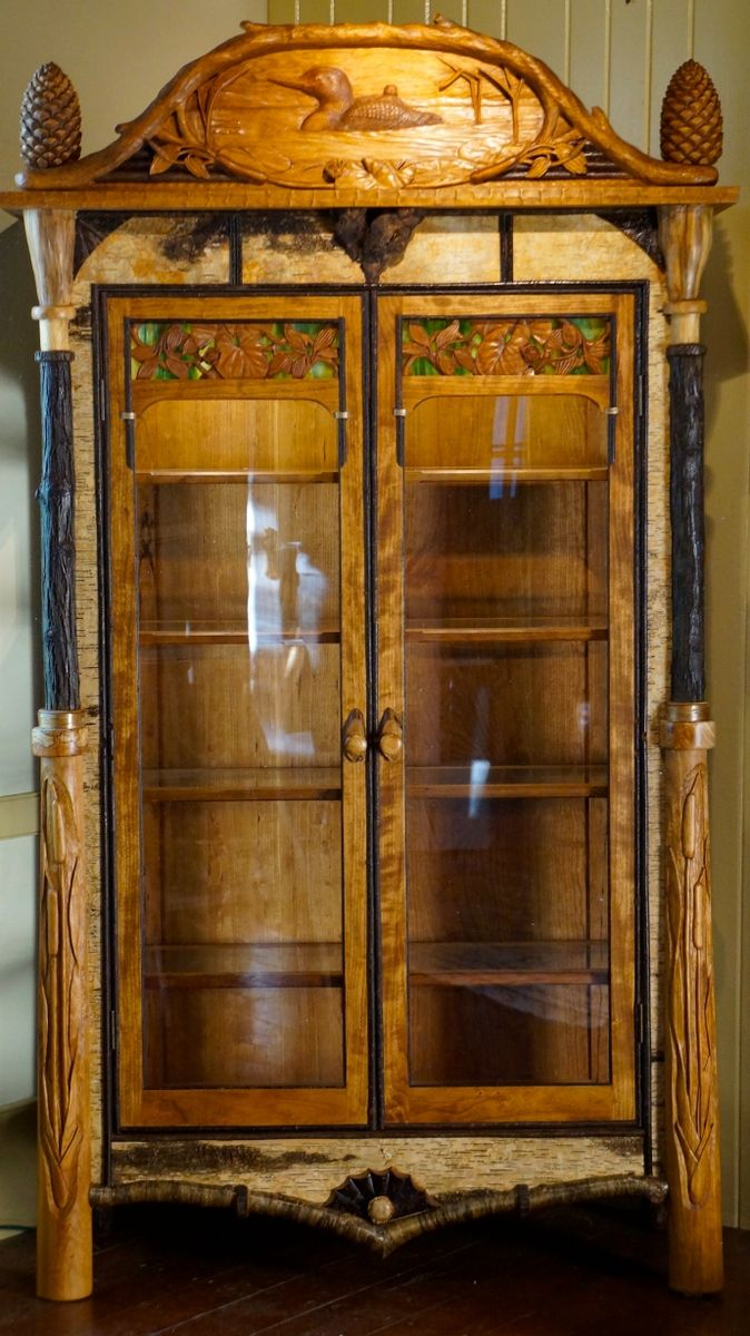 Hand made adirondack rustic display cabinet by l post - Custom display cabinets ...