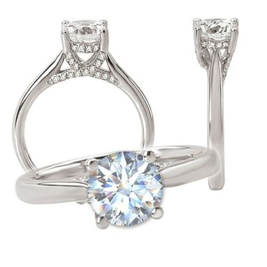 Custom Made 18k White Gold Engagement Ring Semi-Mount, Holds A 7mm Round Center Stone