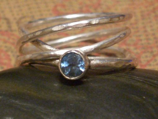 Custom Made Stacking Rings In Blue Topaz With Mobius Design