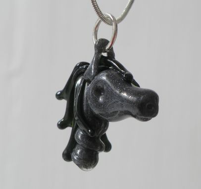 Custom Made Horse Necklace Glass Pendant Lampwork Equine Mustang Hand Blown Sra Grey Green Year Of The Horse