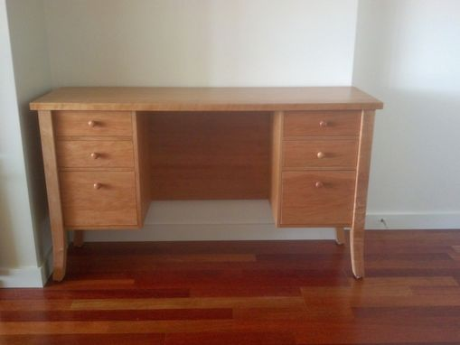 Custom Made Solid Cherry Pedestal Desk With Drawers