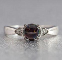 vintage-inspired black opal engagement ring