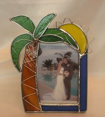 Custom Made Stained Glass Palm Tree Picture Frame With Overlay Wire